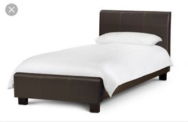3ft brown leather bed