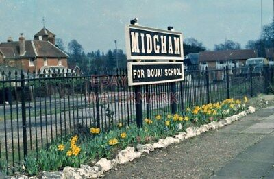 PHOTO  MIDGHAM RAILWAY STATION  SIGN AND GARDEN 1969.