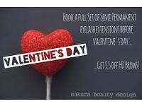 Valentine's Offer! High Quality Eyelash Extensions | LVL Lash Enhance | HD Brows | CND Shellac