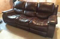 Leather Couch (Double Recliner) & Chair (Recliner/Rocker)
