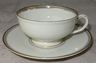 Langenthal Porzellan Elfenbein mit Goldrand 1 Kaffeetasse Teetasse + Untertasse