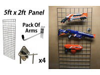 Nerf Gun Wall Display Toy Storage 5ft Hanging Mesh Grid Panel New
