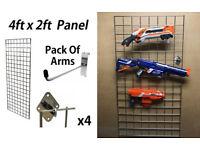 4FT Grid Panel Nerf Gun Wall Display Toy Storage Childrens Bedroom Kids Room Play Room