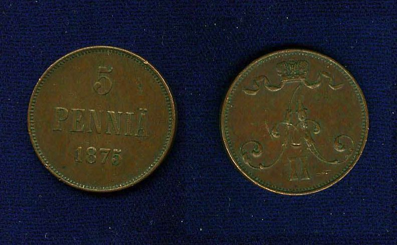 FINLAND (RUSSIA) ALEXANDER II   1875-S  5 PENNIA COPPER COIN, VF/XF
