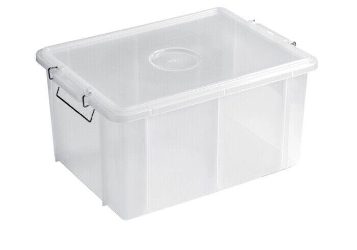 GIGANPLAST - CASSETTA BOX BIANCA con COPERCHIO e MANIGLIE in POLIPROPILENE