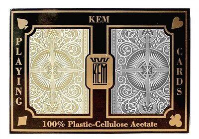 KEM ARROW BLACK AND GOLD PLAYING CARDS POKER SIZE JUMBO INDEX