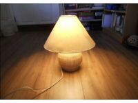 IKEA table lamp with light shade yellow and white wooden effect