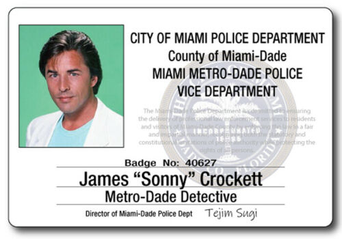 MIAMI VICE JAMES SONNY CROCKETT NAME BADGE TAG PROP HALLOWEEN COSPLAY PIN BACK