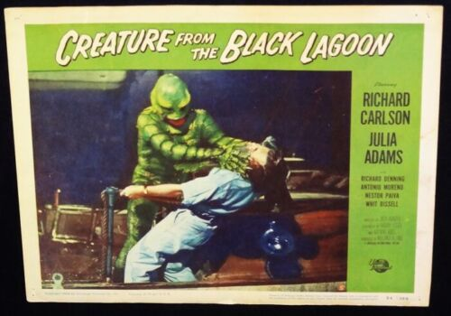 CR4EATURE FROM THE BLACK LAGOON orig 1954 Lobby Cd #5 creature attacks! Look