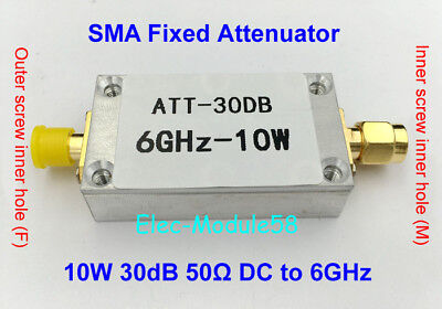 10w 30db Fixed Attenuator Rf Attenuator For Power Meter Spectrum Analyzer 50 Ohm