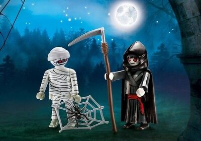 Playmobil Halloween Blister Pack #9308 Mummy and Grim Reaper - New factory Seal