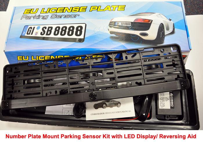 Car European License Plate Monitor System Reversing Parking Radar 3 Sensors Kit