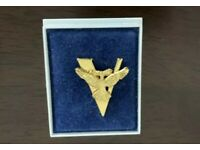 Double Eagle V for Victory Tie Pin in Gold coloured metal