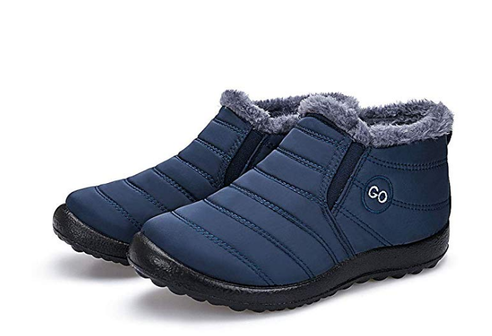 Women Slip on ankle Snow Boots Size 11 Blue