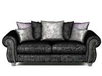 3 Seater Black Crushed Velvet Sofa - SCS Quantas