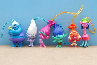 6pcs/set Trolls cartoon pvc Charm Strap For Cell Phone Action Figures Toys Dolls