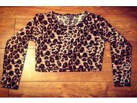 Long Sleeve Leopard Print Crop Top - Size 16