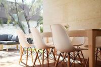 chaises eiffel, chaise eames, blanche, white, chairs
