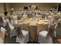 50p Chair Covers Hire Wedding London +Bows Sashes Organza Table Cloth Centrepiece DIY collect/return