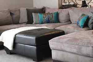 Ashley Tan Microsuede Sectional Sofa