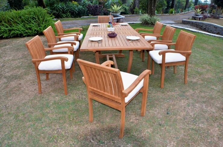 """9 Pc Outdoor Dining Teak Set - 94"""" Rectangle Extension Table & 8 Stacking Chairs"""