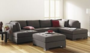 Grey 6 seater modular sofa with corner chaise lounge (inc. ottoman)