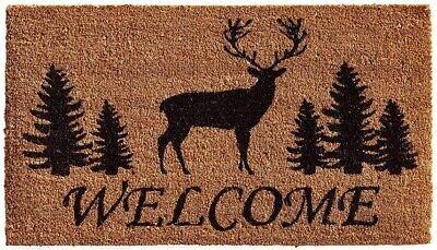 Elk Buck Pine Trees Welcome Coir Porch Rug Front Door Mat Christmas Holiday
