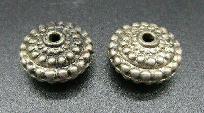 Two Turkmen Ottoman silver beads