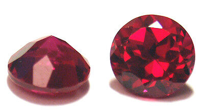 A pair of  6 mm Round Brilliant Cut Lab Created Ruby