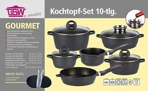 Kochtopf-Set Alu-Guss Gourmet 10 Teile Topf-Set GSW Töpfe Gusstopf