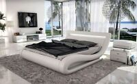 *ON SALE* Modern White Leatherette Bed with Headboard lights