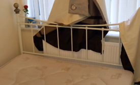 White / Cream Double bed Frame & mattress £20