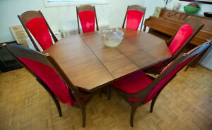 For sale very unique and classic walnut vintage dining room set