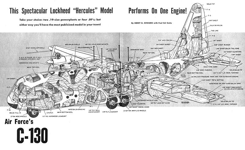 Details About Model Airplane Plans Uc Lockheed C 130 64 Scale For 19s 2 Or 09s 4