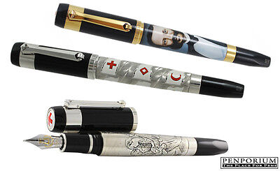 TIBALDI BY MONTEGRAPPA RED CROSS MOVEMENT THREE FOUNTAIN PEN SET
