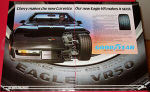 COOL 1983 GOODYEAR TIRES AD WITH 1984 CORVETTE - RETRO VINTAGE