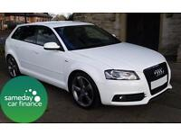 £282.60 PER MONTH WHITE 2012 AUDI A3 2.0 Black Edition 5 DOOR DIESEL MANUAL
