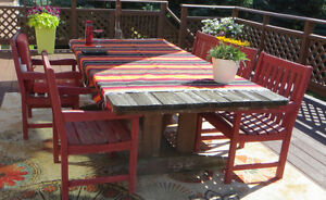 Wood Patio dining set 9 pc + lounger and side table