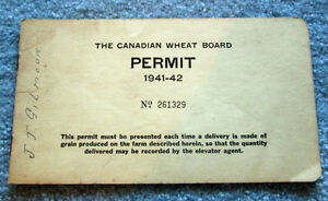 Old Canadian Wheat Permit Books 1940s