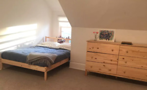 Ikea natural wood double bed frame and wooden dresser