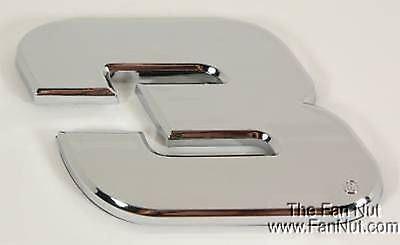 (Dale Earnhardt Sr #3 Silver Chrome Colored Auto Emblem Decal Nascar Racing)