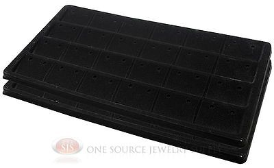 2 Black Insert Tray Liners For 24 Earrings Organizer Jewelry Display
