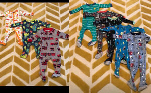 6 pyjamas à zip + 2 a snap 9 mois bébé garçon Carters