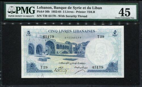 Lebanon 1952-1964, 5 Livres, P56b, PMG 45 XF