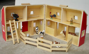 Melissa & Doug Fold & Go Barn Play Set +10 Farm Animals Like New
