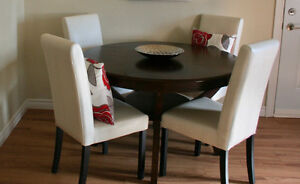 Solid Wood Table and Four (4) Leather Wooden Kitchen Chairs