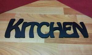 "Wooden Plaque Words/Letters ""KITCHEN"" Home Wall/Door Decoration Black"