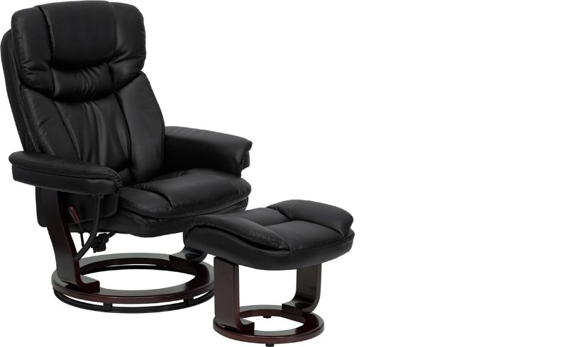 Flash Furniture Contemporary Black Leather Recliner and Otto