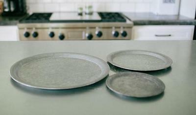 ROUND GALVANIZED TRIVETS~TRAYS~ SET OF 3~Vintage Style
