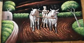 Hand made Canvas painting on black base canvas .